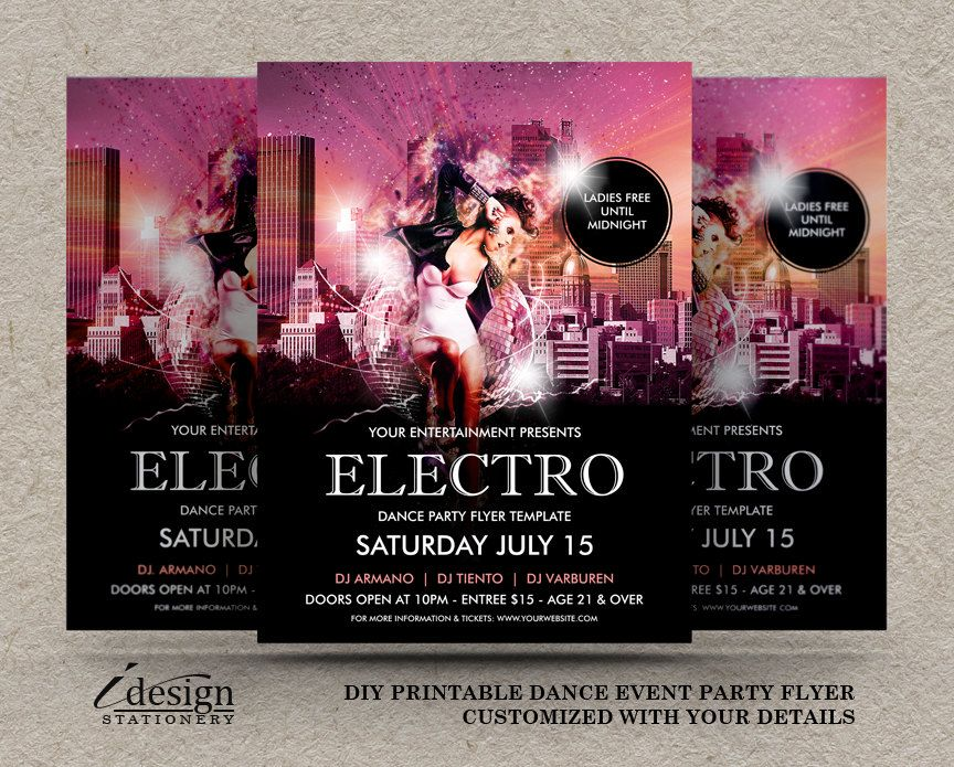 Electro Dance Party Flyers Funky Techno House Trance Rave Dance