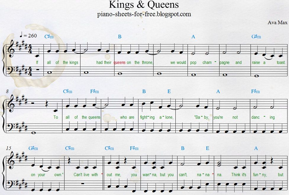 Roblox Music Sheets Copy And Paste Easy Pdf Piano Sheet Music Ava Max Kings Queens In 2020 Piano Sheet Piano Sheet Music