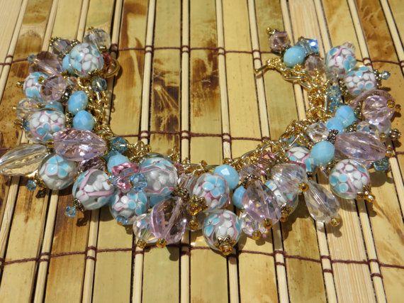 BABYCAKES Pink and Blue Crystal Color Study Charm Bracelet ooak