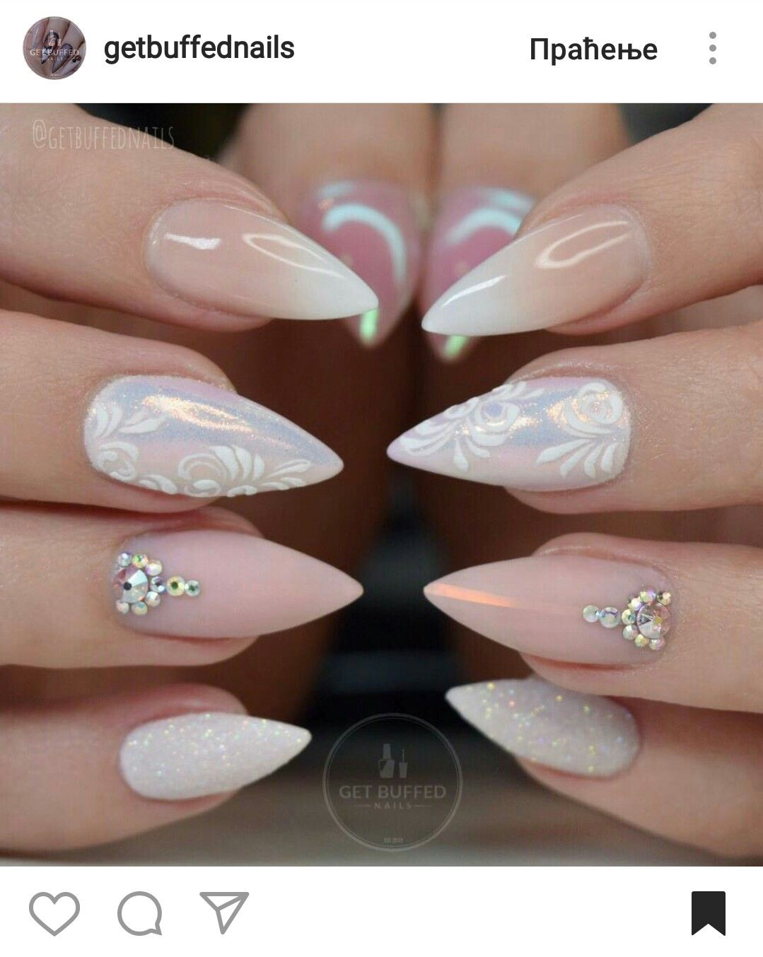 Stiletto Nails Fake Nails Matte Nails Blue Press On Nails: Stiletto Nude Ombre Glitter Nails #getbuffednails