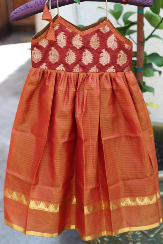 Handmade Indian baby girl, toddler dress, lehenga, brocade, silk, rust and orange dress, summer, sleeveless, spaghetti strap, paisley design on Etsy, by PuchkeeBaby