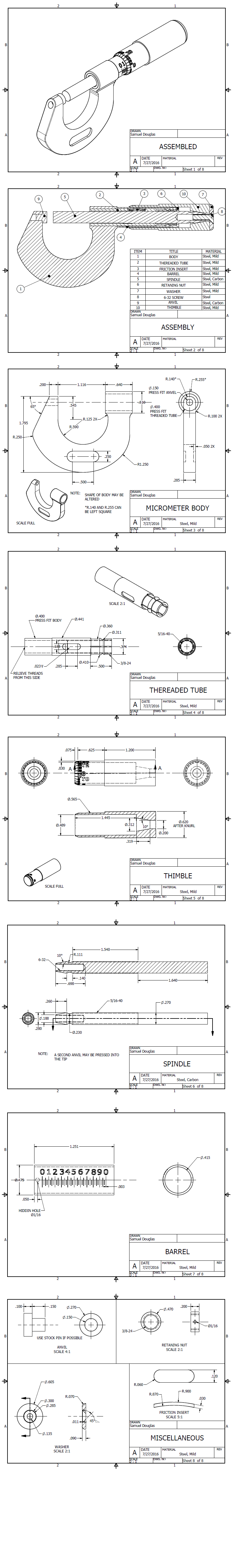 Machining blueprints for a 0 1 inch micrometer machining and machining blueprints for a 0 1 inch micrometer buycottarizona Image collections