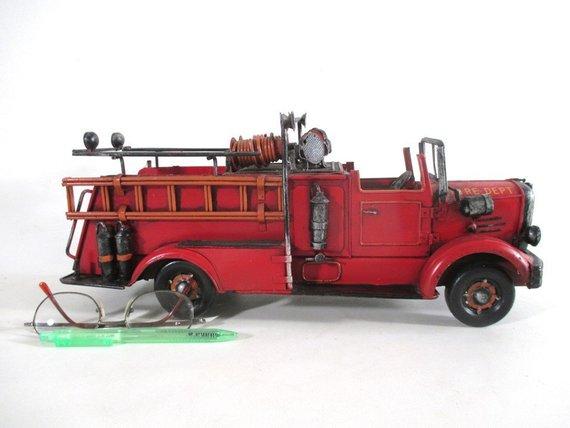 Red Fire Truck Vintage Miniature Firefighter Vehicle Office Den