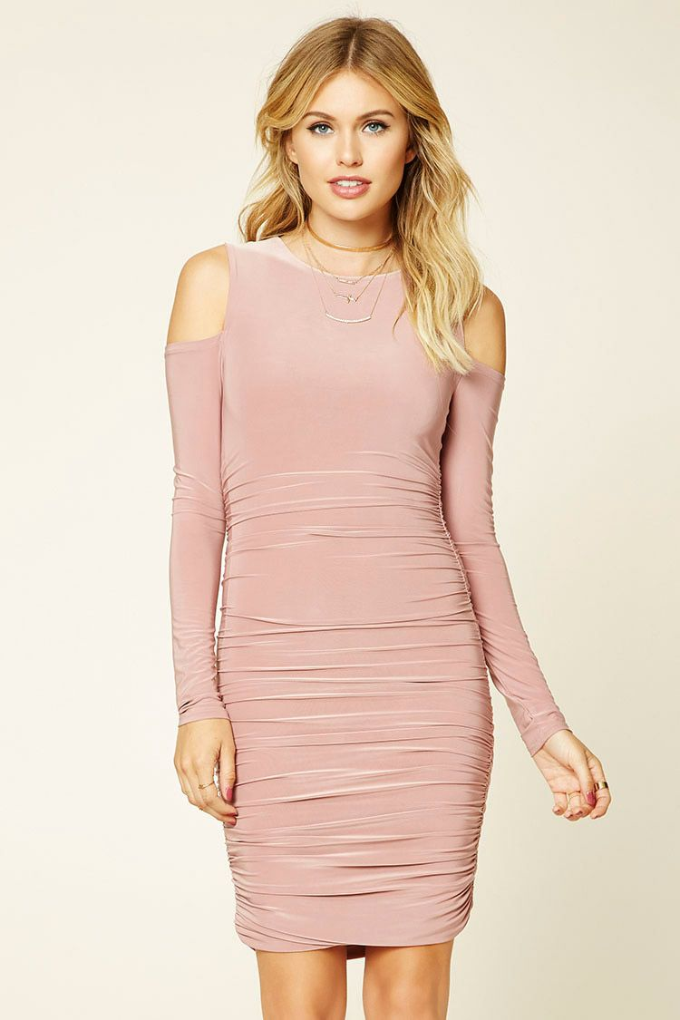 c56f5af93a9a Forever 21 Contemporary - A knit bodycon dress featuring side ruching
