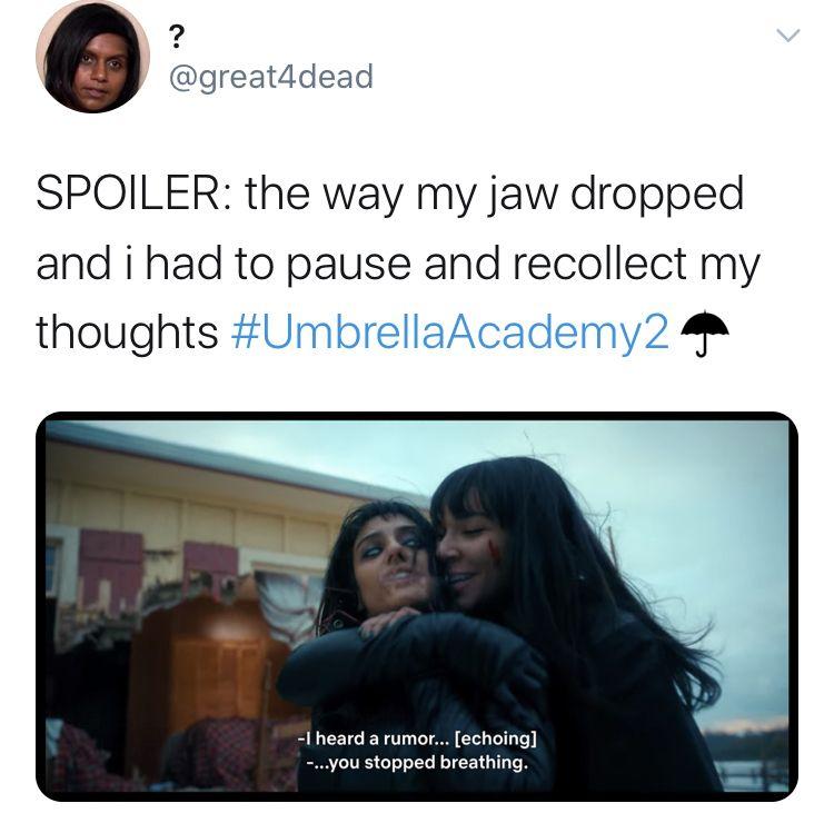 The Umbrella Academy Season 2 Memes Twitter Reactions Funny Umbrella Funny Movie Memes Umbrella