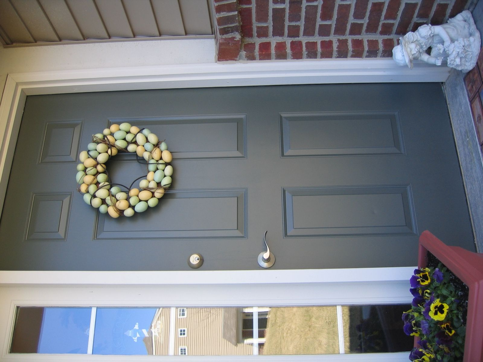 Gray Door Key With Red Bricks Paint All Trim White