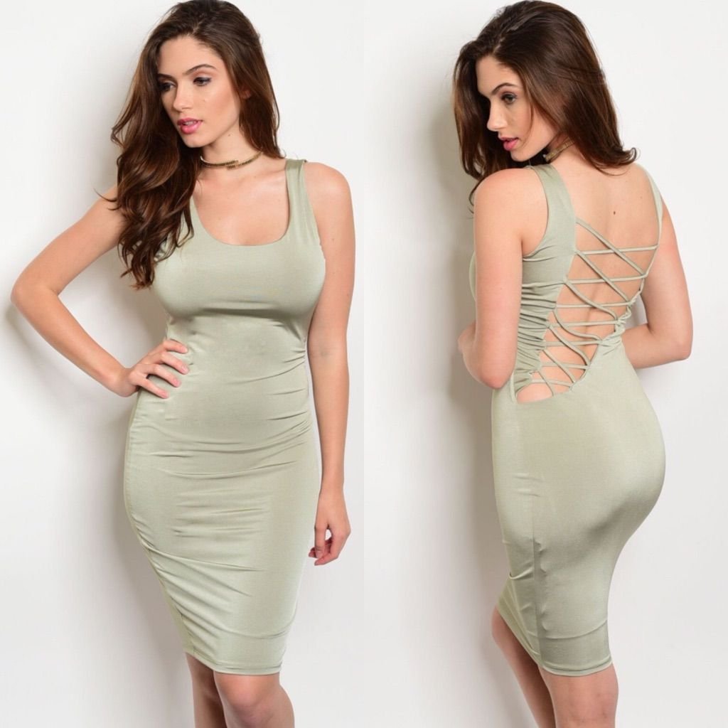 Green lace up dress  Light Olive Green Sage LaceUp Back Dress  Products