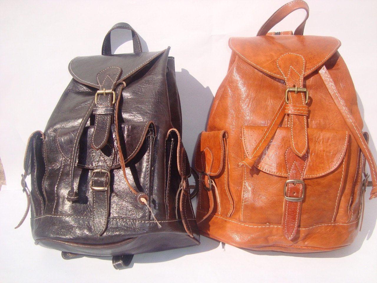 Moroccan Leather Backpack Rucksack Back Bag Soulder Vintage Purse Travel Shoulder Women Men
