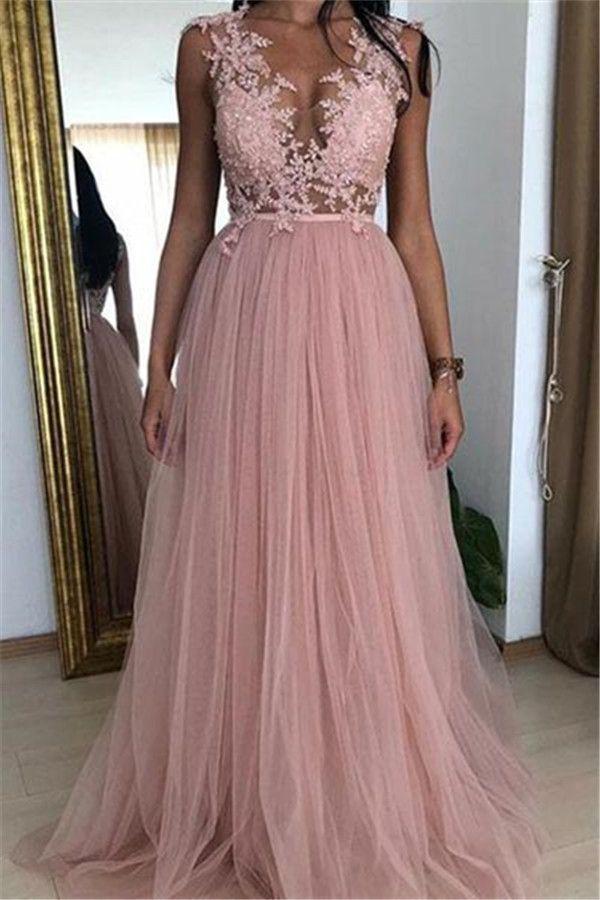 Modern Abendkleider Rosa | Abiballkleider Lang Mit Spitze ...