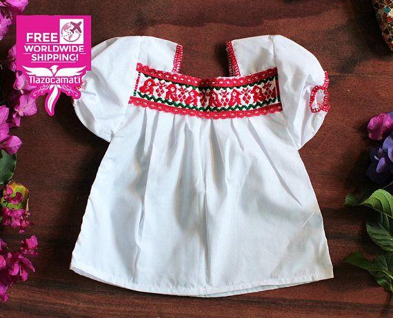 Blusa con un patr n de ping inos rojos blusa mexicana para beb blusa mexicana para ni a - Heces color verde bebe 2 meses ...