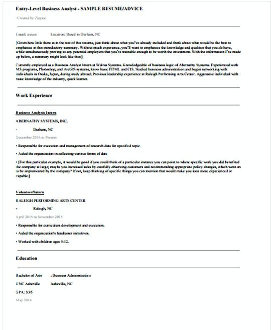 Entry Level IT Business Analyst resume template , IT - example of business analyst resume
