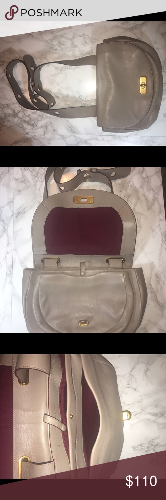 Marc Jacobs Leather Taupe Crossbody Lovely cross body in neutralgo with every body