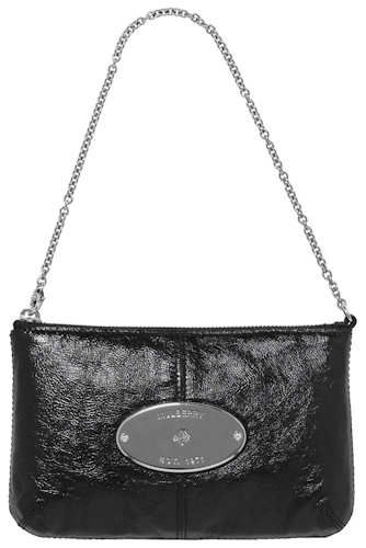 34f57b9eac4 Mulberry Black Patent Charlie Clutch, in creased patent leather, is a  covetable chain handled evening bag made from Mulberry s black creased patent  leather.