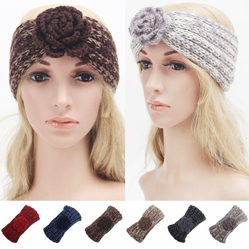 Women S Girls Knitted Rose Headband Hair-Band Ski Hat Earmuffs Winter Wool  Knit 6802cfa24340