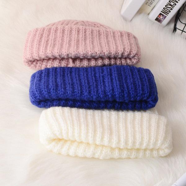 87e366a02 Women Mens Retro Thick Knitted Beanie Caps Casual Warm Rolled Cuff ...