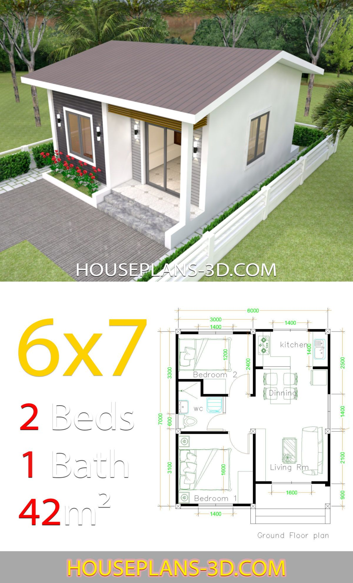 House Design 6x7 With 2 Bedrooms House Plans 3d Projetos De Casas Simples Projetos De Casas Pequenas Projetos De Casas Populares