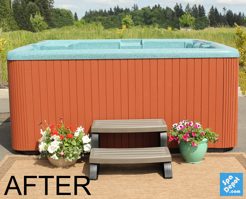 Restored hot tub cabinet after DIY painting | Hot tub | Pinterest ...