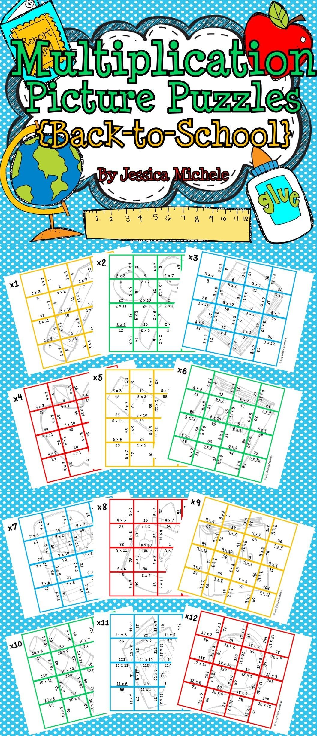 Multiplication Picture Puzzles Back To School