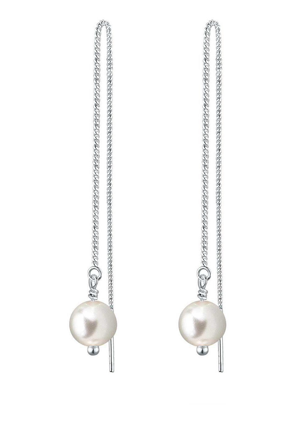 Tolle Ohrhänger (ca. 45mm lang ) aus feinem 925er Sterlingsilber mit 2 perlenförmigen Kristallen (6mm) von Swarovski in CRYSTAL WHITE, einem seidigen Weiß.  Produktdetails: Gesamtanzahl Perlen: 2, Perlenart: Synthetische Perle, Perlenfarbe: weiß, Perlengröße: 6.0mm, Perlenglanz: Hoher Glanz, Perlenform: Rund, Perlenoberfläche: Sauber, Höhe: 105mm, Breite: 6mm, Gewicht: 1,5g, Optik: glänzend, Ar...