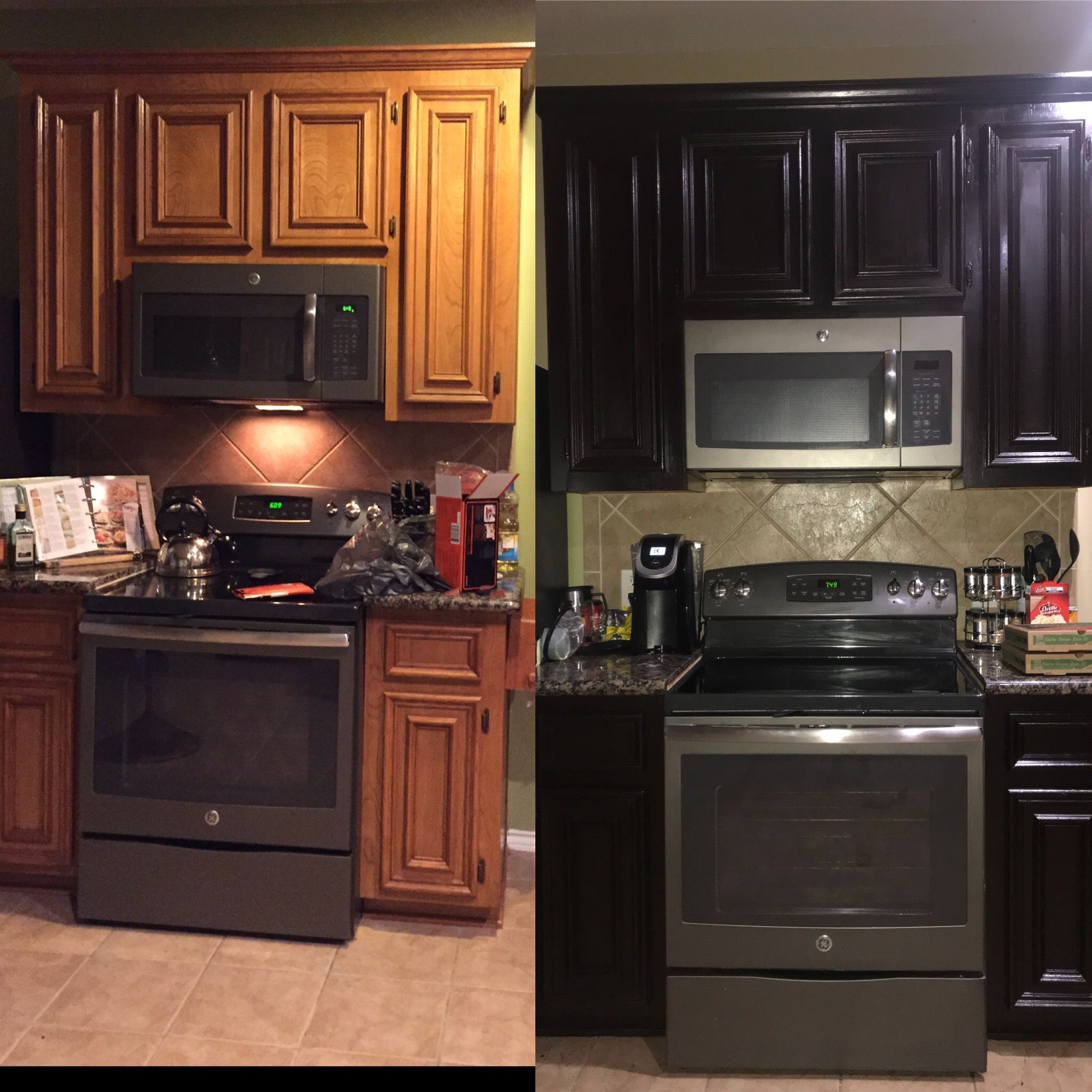 Before And After Using Gel Stain Only Needed One Coat And Done This Is Coffee Color From Minwax D Staining Cabinets Gel Staining Cabinets Kitchen Remodel