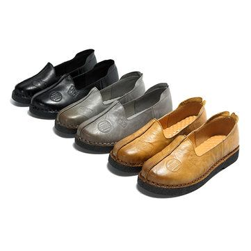 a2a25c3266a SOCOFY Sooo Comfy Retro Pattern Slip On Leather Flat Shoes