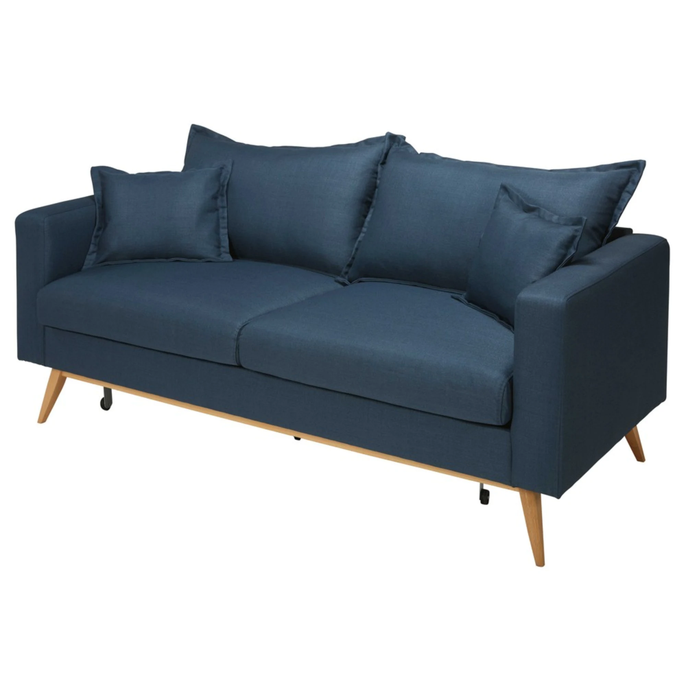 3 Seater Sofa Bed With Midnight Blue Fabric Cover Maisons Du Monde Lilly Is Love In 2020 Sofa Bed Furniture Bed Furniture King Fabric Sofa Bed