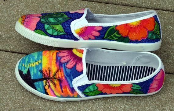 Mano pintada zapatos zapatillas tropical arte por