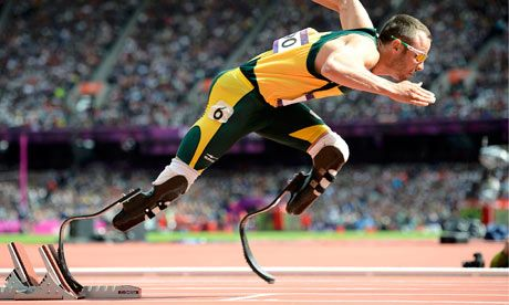 Oscar Pistorius - the first double amputee to compete in both the Olympics and the Paralymics.