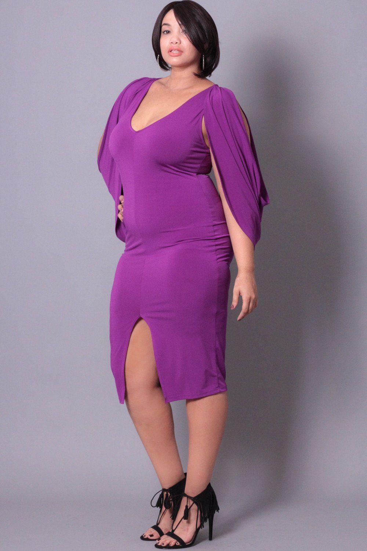 Plus Size Cold Shoulder Grecian Dress -Magenta | Cold shoulder ...