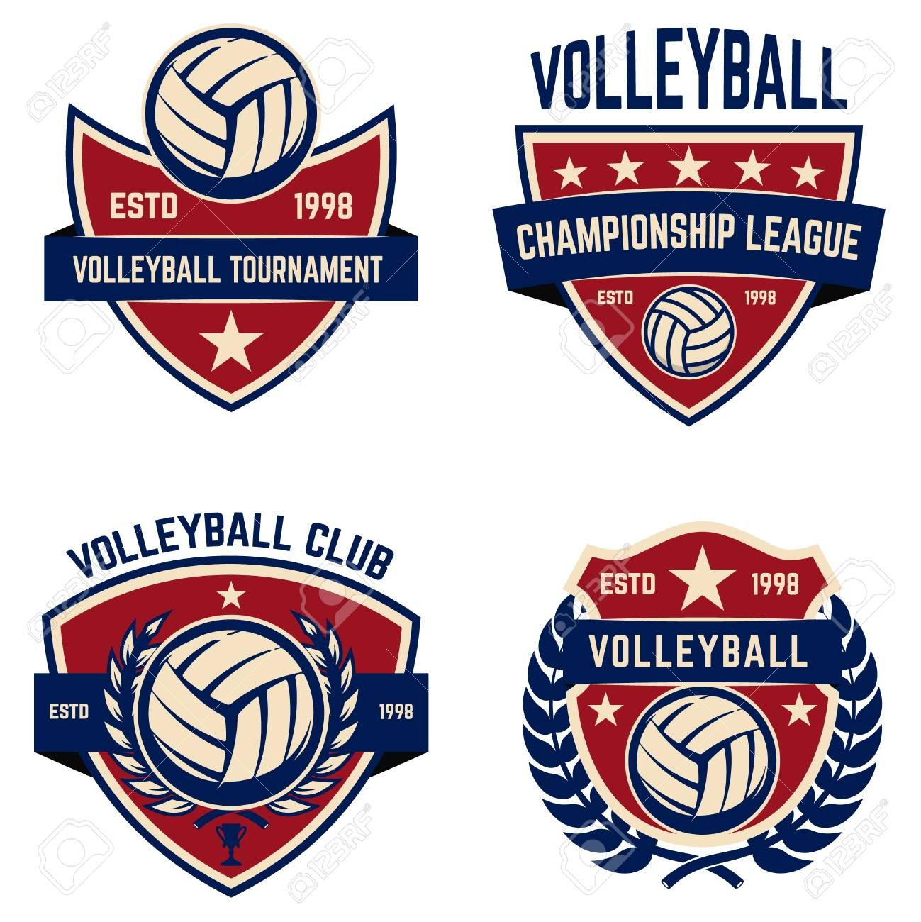 Set Of Volleyball Champions League Emblems Design Elements For Logo Label Emblem Sign Vector Illustration Aff Lea In 2020 Champions League Volleyball Emblems