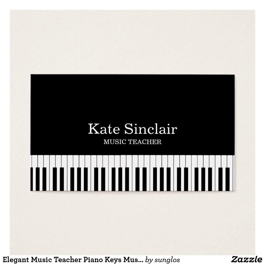 Elegant Music Teacher Piano Keys Musical Business Card Zazzle Com Teacher Business Cards Music Teacher Music Business Cards