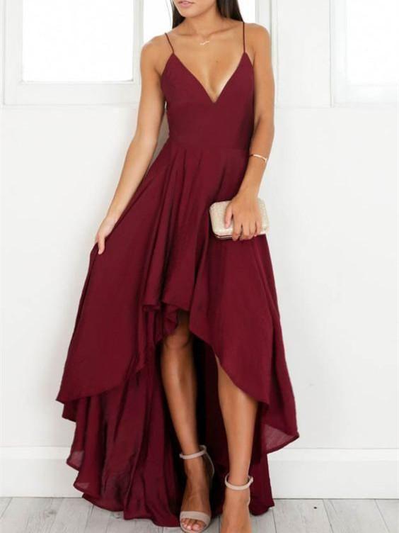 ad5cc5da39 A-line V-Neck Burgundy Chiffon Prom Dresses