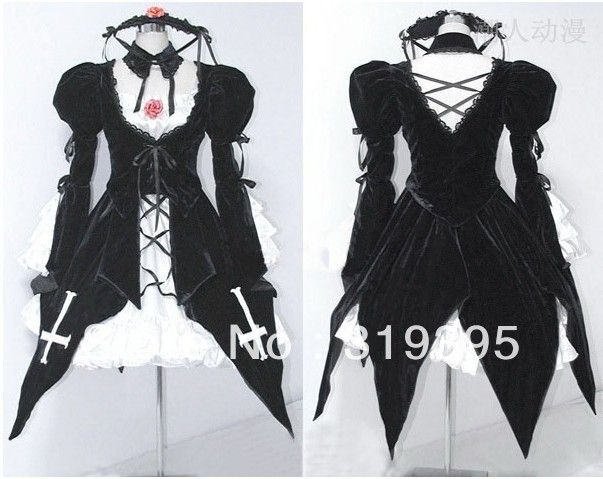 Japanese Anime Clothing the evil Rozen Maiden doll Suigintou cosplay costume Free Shipping Wholesale New Black Dress Suit CSS7