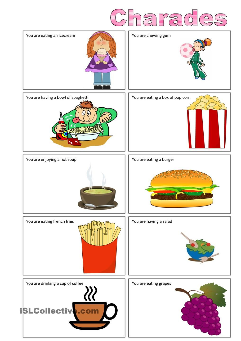 Food Charades Charades For Kids Drama Games For Kids Charades