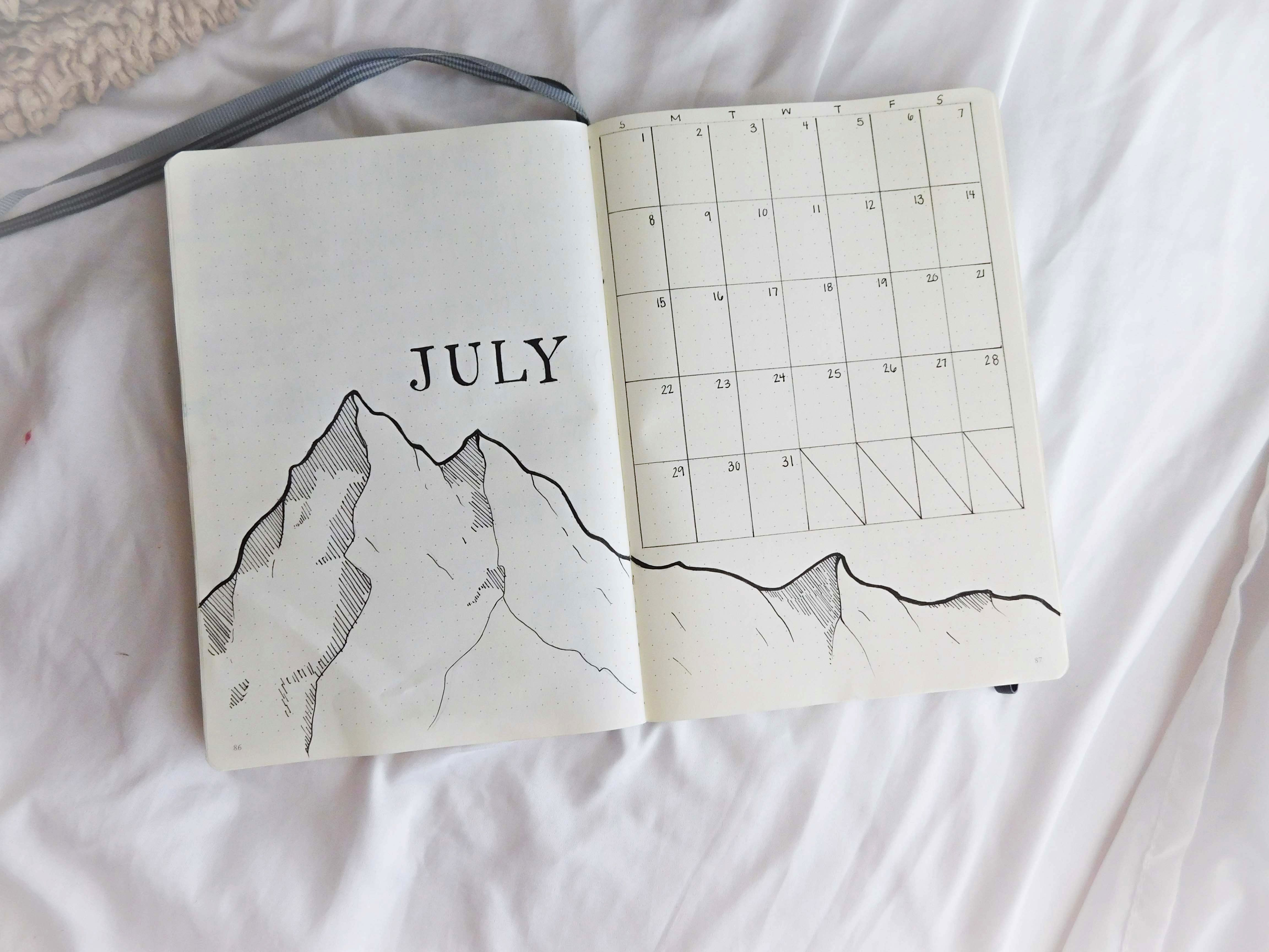 Bullet Journal, Bullet Journaling, Monthly Cover, Monthly Spread, Mountains, July #septemberbulletjournalcover Bullet Journal, Bullet Journaling, Monthly Cover, Monthly Spread, Mountains, July #novemberbulletjournalcover