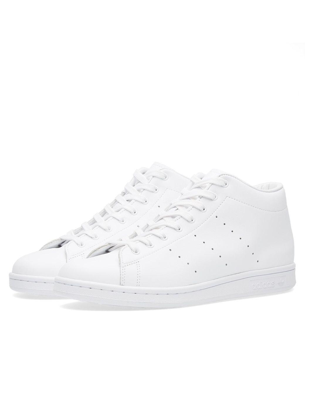 adidas originals white & black stan smith mid top trainers