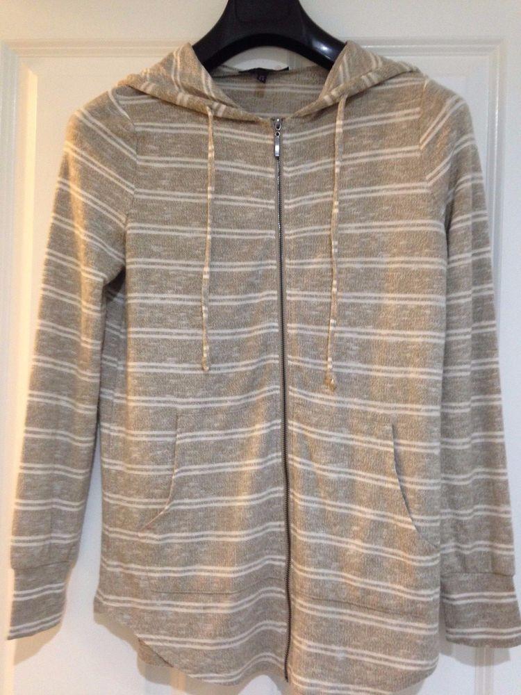 Womens Long Sleeve59%Rayon Casual Beige with Ivory Stripe Zip Hoodie Top MSRP$48  | eBay
