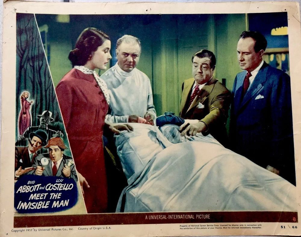 Abbott Costello Meet Invisible Man 1951 Lobby Card Movie Poster