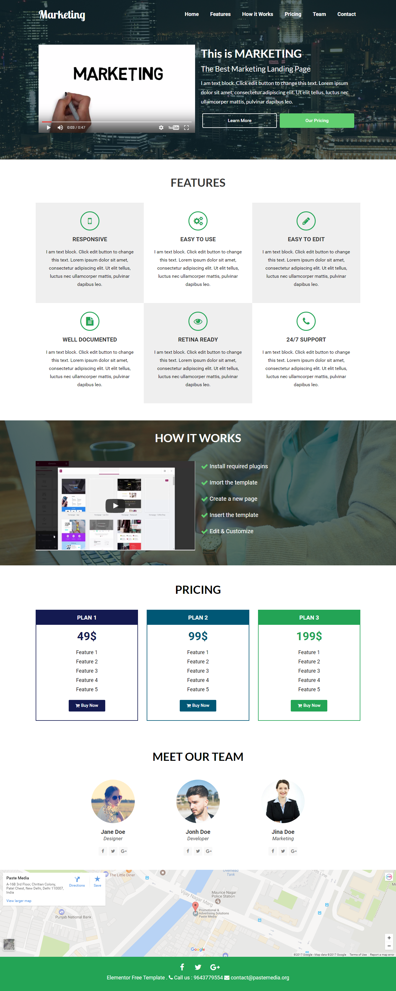 Elementor Free Template for Marketing Landing Page Wordpress