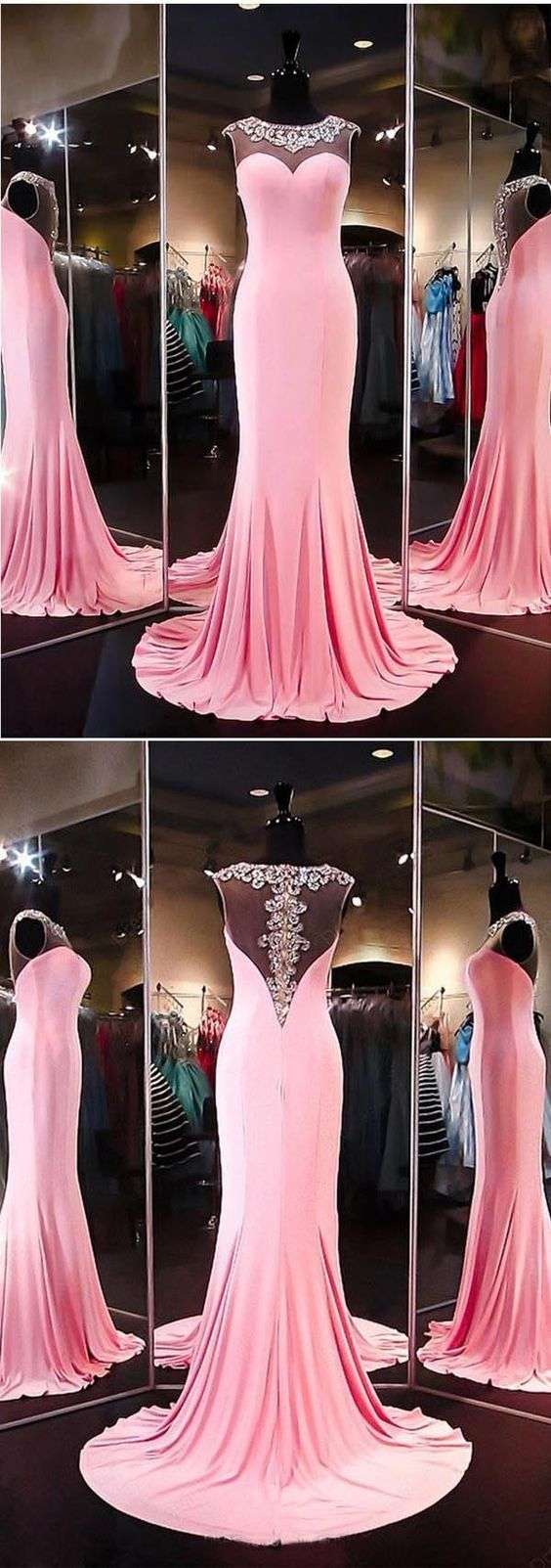 High quality aline mermaid satin pink long prom dress evening dress