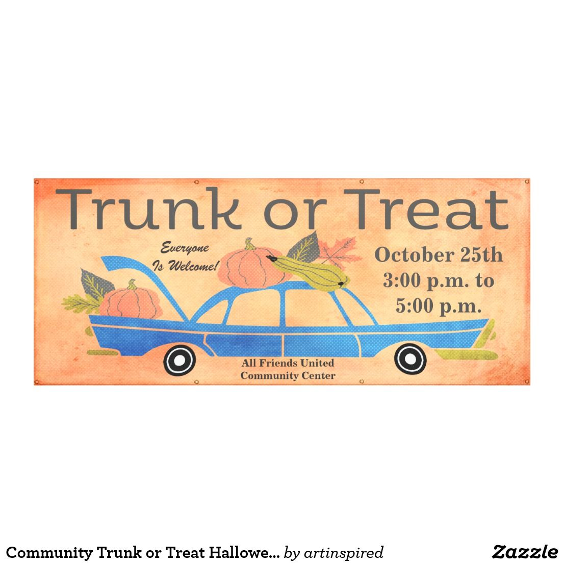 Community Trunk or Treat Halloween Long Car Event Banner