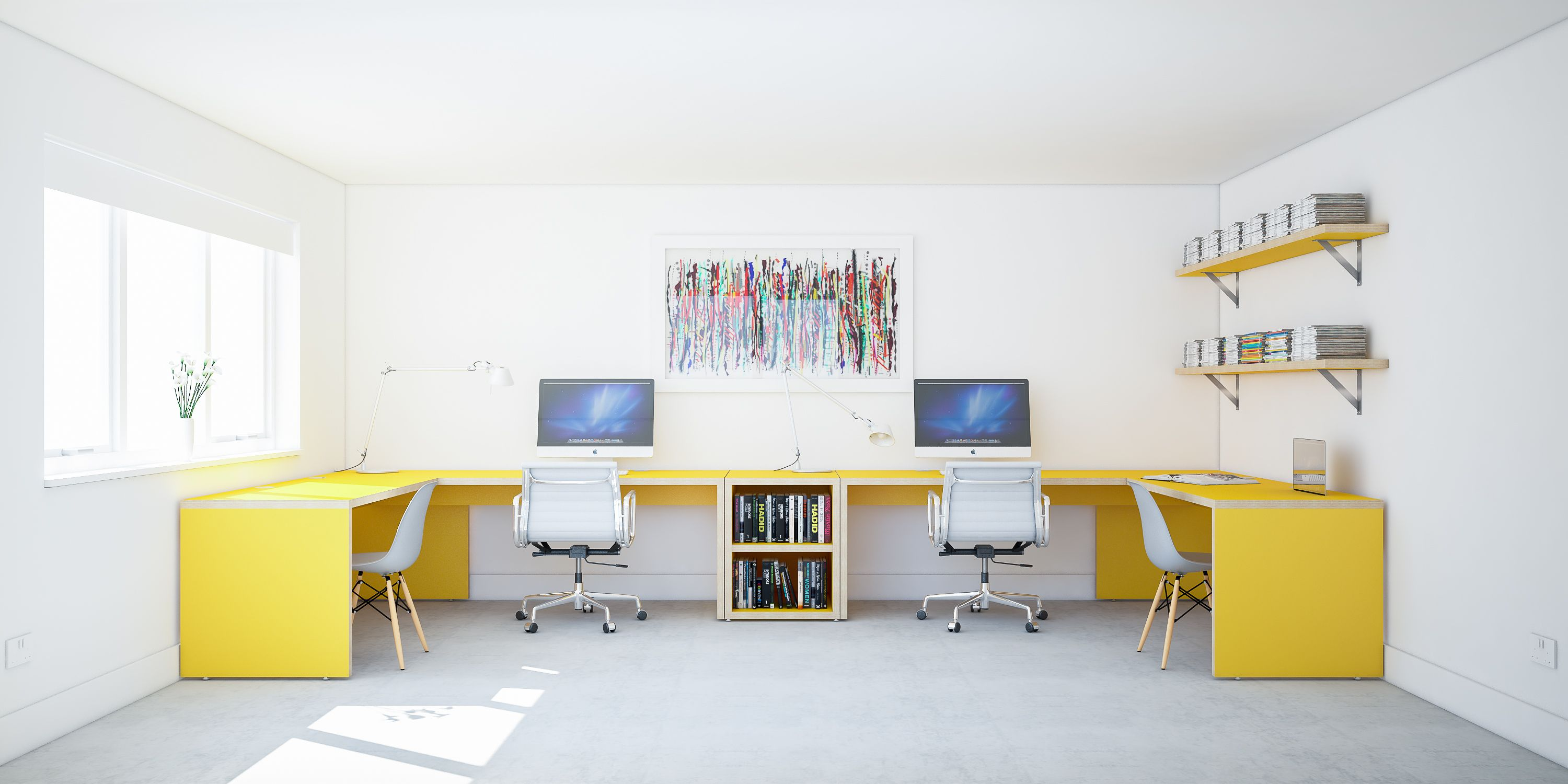 home office fitout. Custom Made To Measure Office Fit Out. Bespoke Home Desk. Yellow Fitout