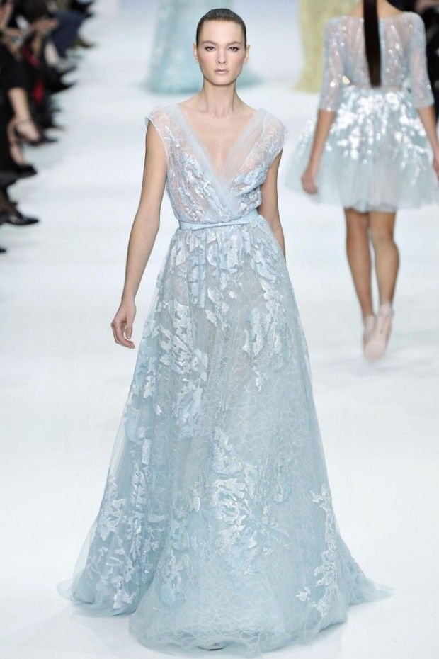 Baby blue wedding dress elie saab 2012 2013 coloured for Elie saab 2012 wedding dresses