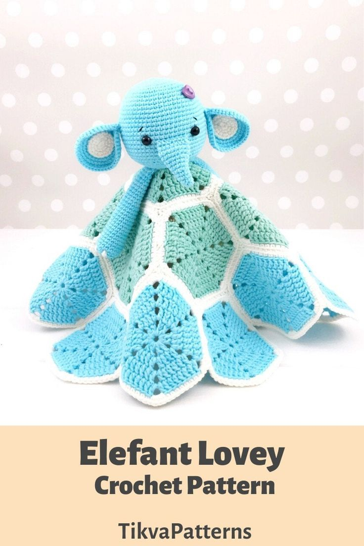Elephant Lovey Pattern, Security Blanket, Crochet Elephant, PDF Crochet Pattern, Elephant Blanket, B