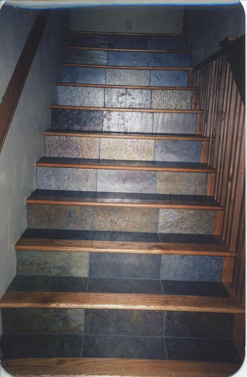 Wood stair treads tile inlay kendall 39 s custom wood for Hardwood floors on stairs