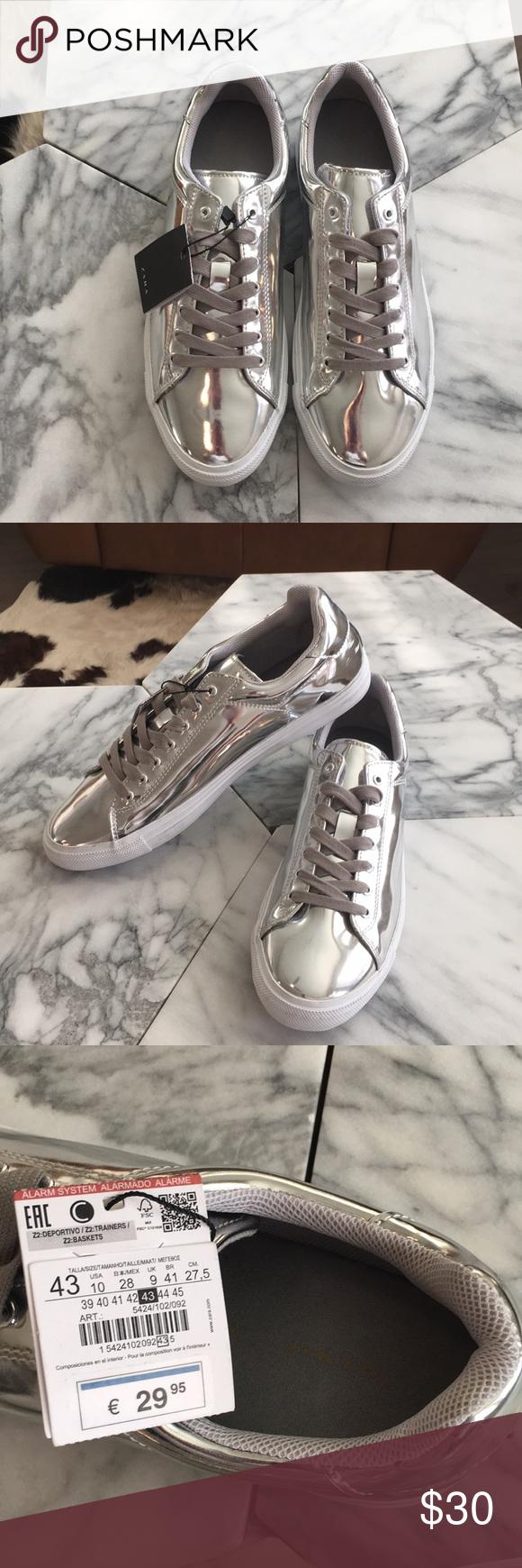 Zara Man Metallic Silver Trainers