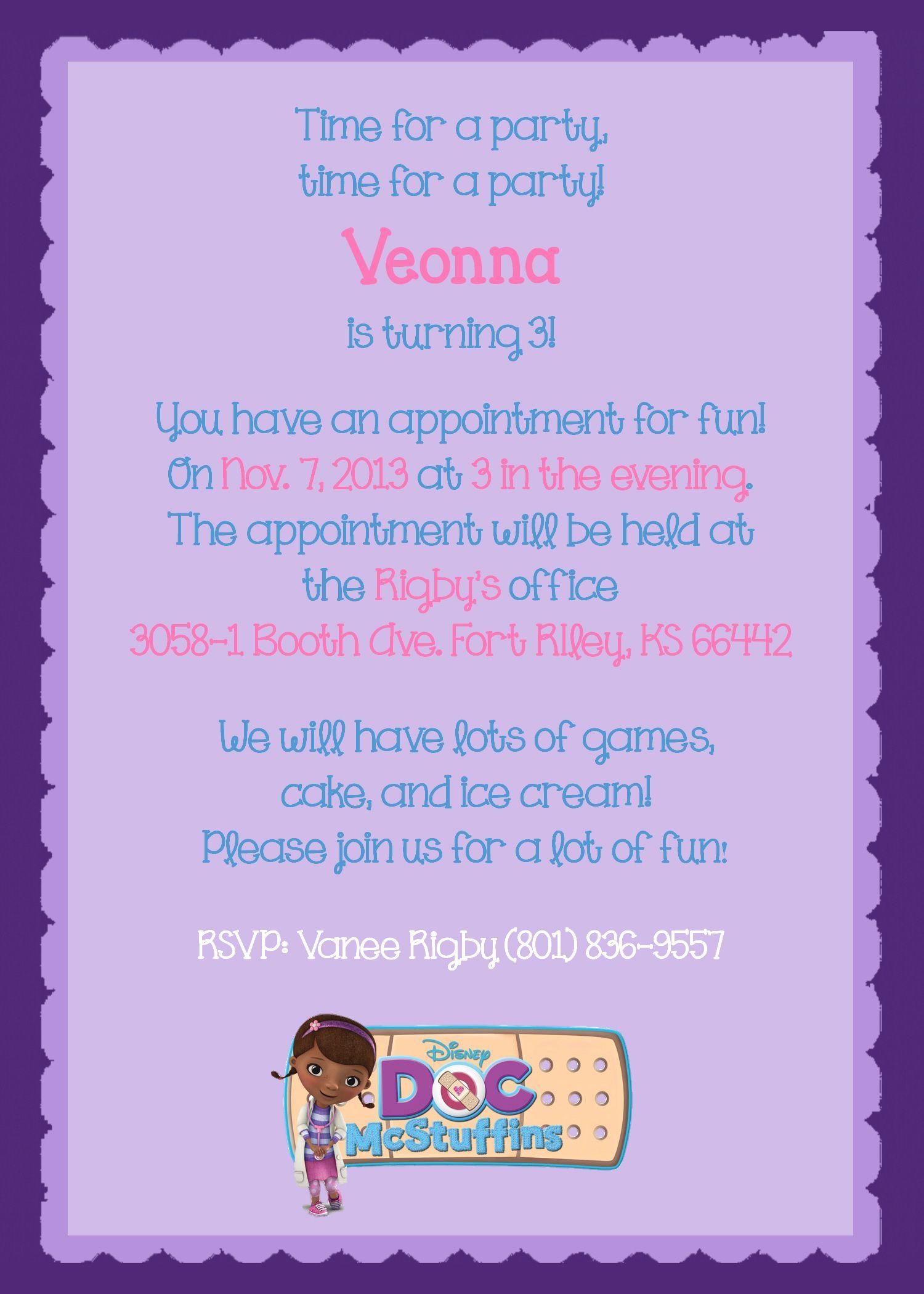 Disney\'s Doc McStuffins #1 theme birthday card | Birthday Invites ...