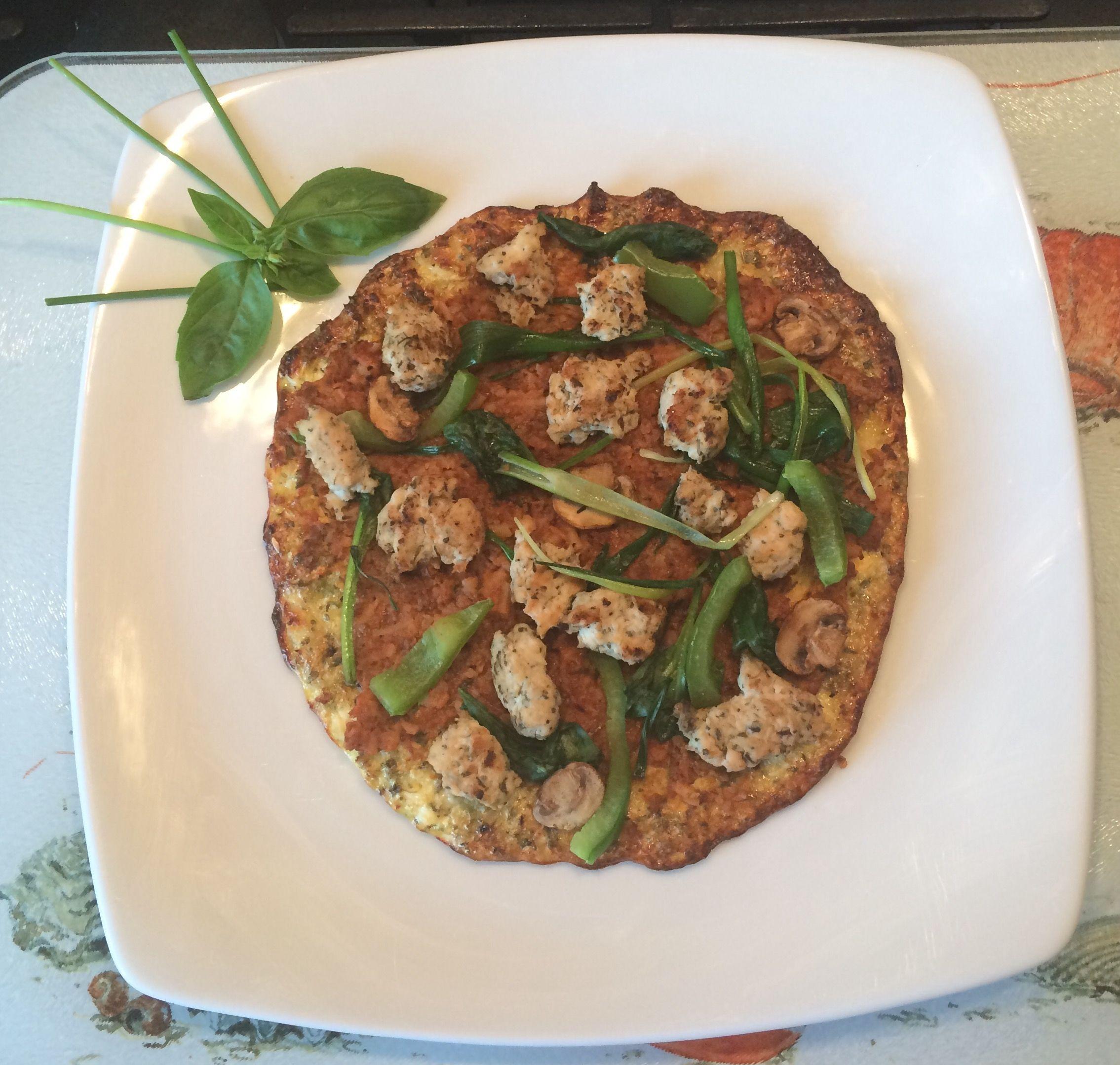Spicy Chicken Mushroom And Pepper Pizza Cauliflower Bread 50g