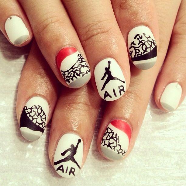 Air Jordans Ongles Rouge Noir Et Blanc