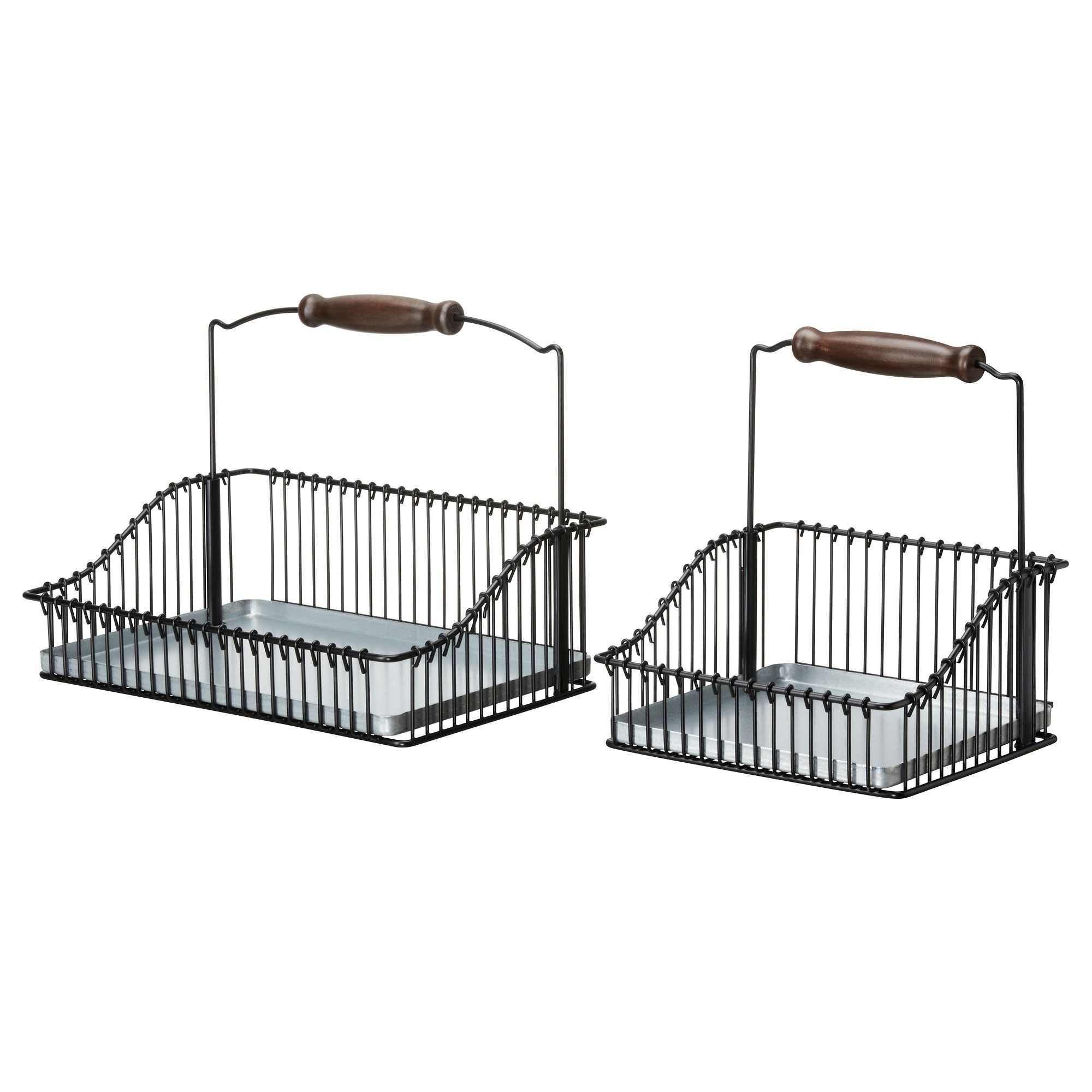 Fintorp Wire Basket With Handle Set Of 2 Black Ikea